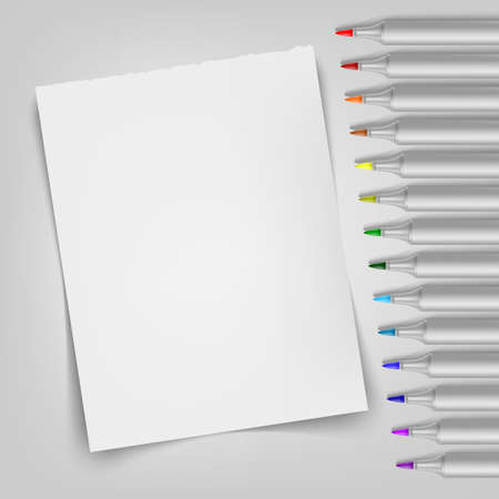 Sketchbook with markers and sheet. Template for your illustration. Vector illustration. EPS10