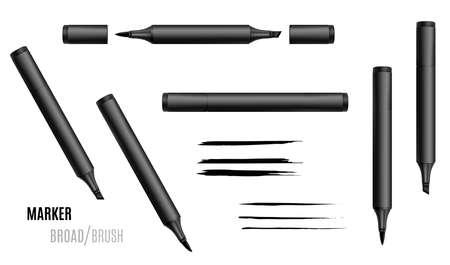 Black marker vector illustration. Double-sided realistic marker. EPS 10