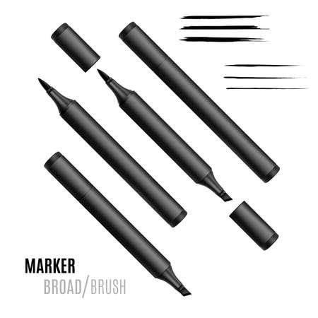 Black marker set. Double-sided realistic marker.