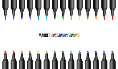 Set of bright markers on a white background. Realistic vector illustration. Courageous colors markers. . EPS 10