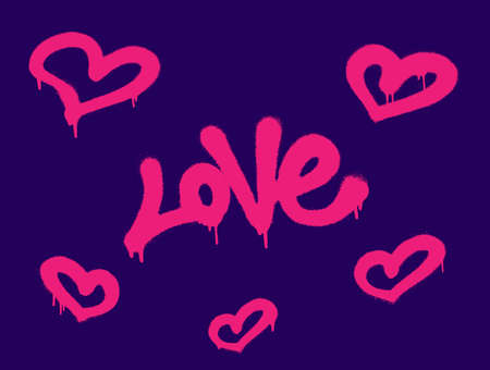 Sprayed love font graffiti with overspray in pink over dark blue. Vector graffiti art illustration.