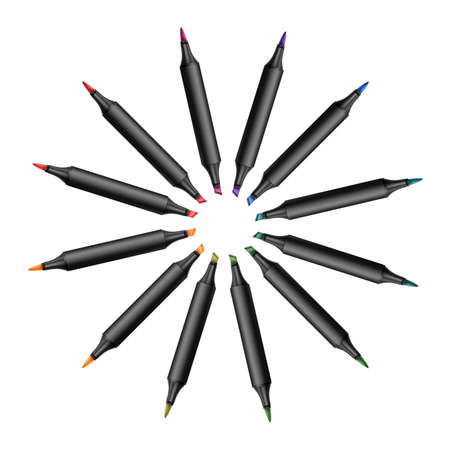 Set of bright markers on a white background  on  Realistic vector illustration.
