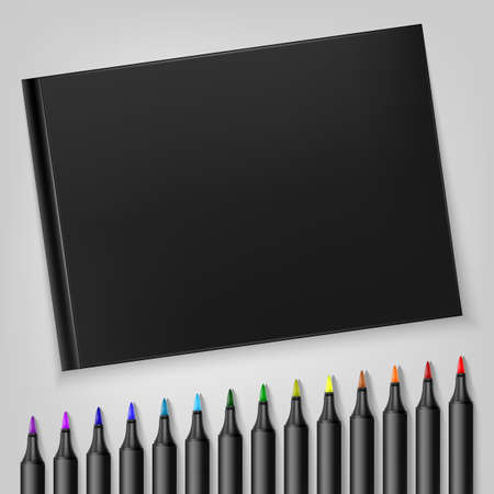 Markers with sketchbook on Template for your illustration Vector illustration.