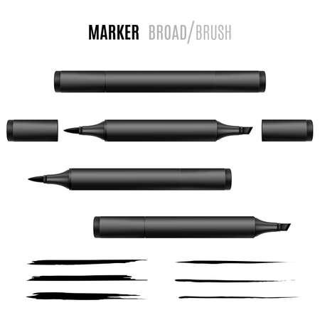 Black marker vector illustration on Double-sided realistic marker. Illustration