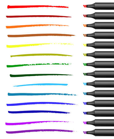 Realistic broad markers with different colors strokes. Vector illustration.Eps 10