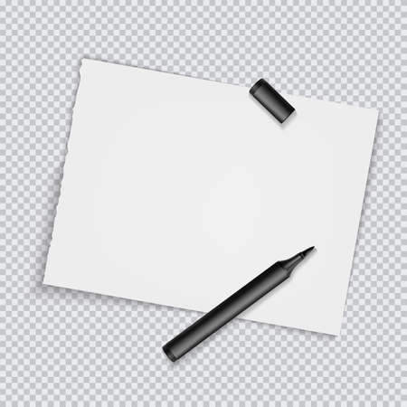 Blank torned off pages with marker. Blank sheet on transparent background. Vector illustration EPS10 Illustration