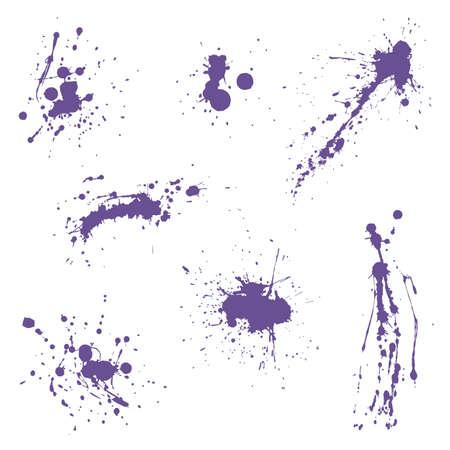 Divers éclaboussures décoratives de graffiti de peinture en aérosol ultra violet. Illustration vectorielle eps 10
