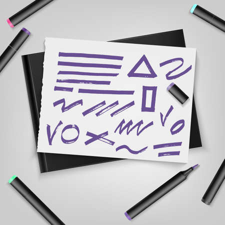 Markers with sketchbook and ultra violet markers stroke on paper sheet. Vector illustration EPS10