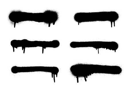 Marco de pintura en aerosol de vector. Conjunto de banner de spray de graffiti. Plantilla muy detallada para fondos o diseño. Ilustración de vector