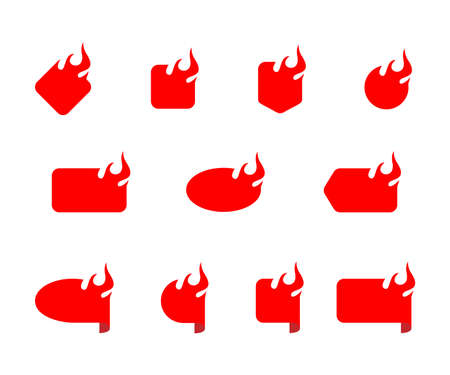 Fire and flame sale flat icon set.
