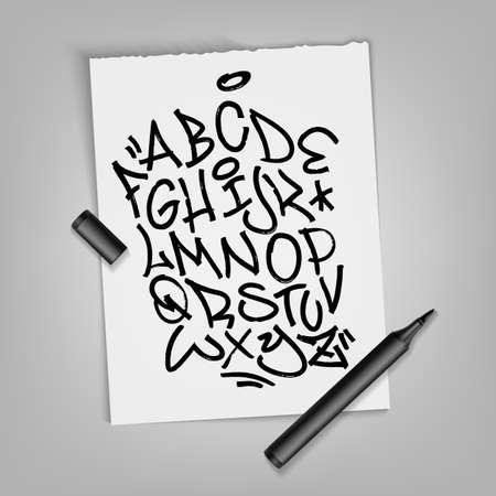 Handwritten broad marker font alphabet. Artistic typography collection. Custom vector calligraphy set