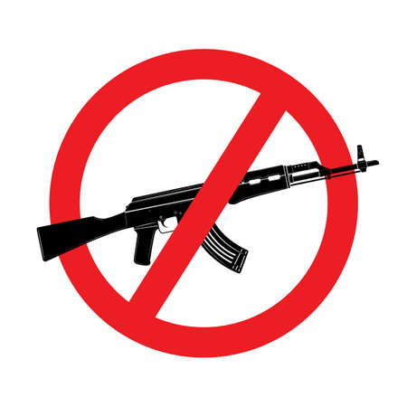 Sign no weapon. assault rifle icon isolated on white background