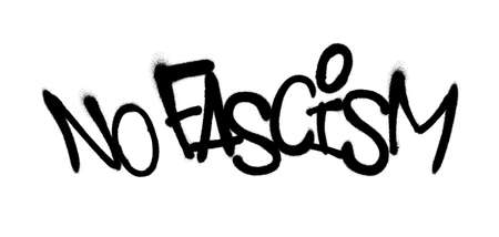 Sprayed no fascism font graffiti with overspray in black over white. Vector illustration.