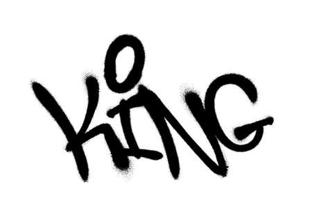 Sprayed king font graffiti with overspray in black over white. Vector graffiti art illustration.