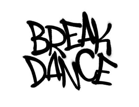 Graffitis de police de break dance pulvérisés avec surpulvérisation en noir sur blanc. Illustration d'art de graffiti de vecteur. Vecteurs