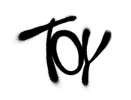 Sprayed toy font with overspray in black over white. Vector graffiti art illustration. Illustration