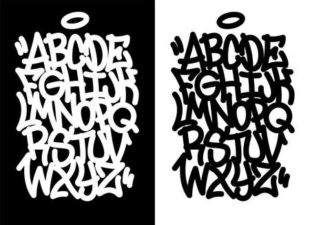Handwritten graffiti font alphabet. Set on black background. Illustration