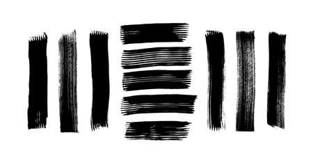Brush strokes set hand drawn scribble abstract vector illustration. Border design template. EPS 10