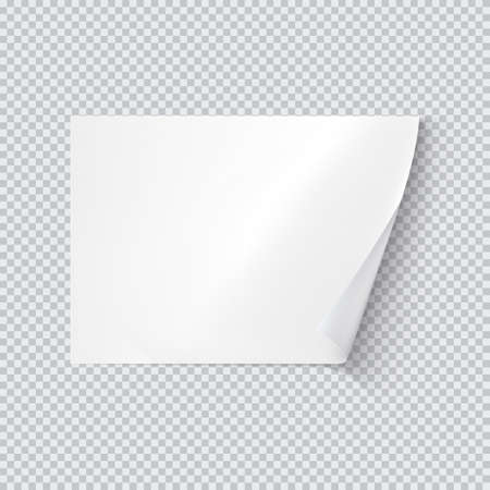 Horizontal white sheet of paper on transparent background. Vector realistic illustration. A4 sheet with curled corner eps 10 Banco de Imagens - 112216640