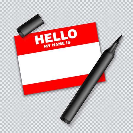 Etiqueta de plantilla en blanco mi nombre es. Etiquetas en blanco de color rojo etiqueta blanca con marcador aislado sobre fondo transparente. Ilustración de vector