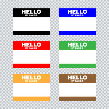 Blank template tag my name is. Set of color blank stickers white label isolated on transparent background. Vector illustration.