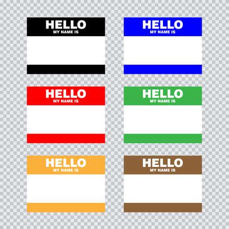 Lege sjabloontag mijn naam is. Set kleur lege stickers white label geïsoleerd op transparante achtergrond. Vector illustratie. Vector Illustratie
