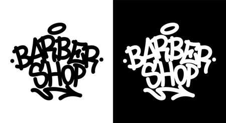 Barber shop. Graffiti tag in black over white, and white over black. Vector illustration Eps 10