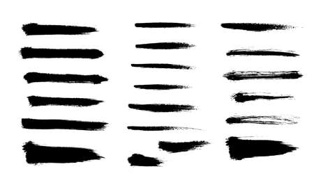 Brush strokes set hand drawn scribble abstract vector illustration. Border design template. EPS 10