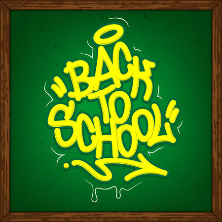 Back To School Tag Graffiti Style Label Lettering On Blackboard. Vector Illustration.