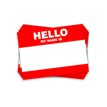 Blank template tag my name is. Red color blank stickers white label isolated on white background. Illustration