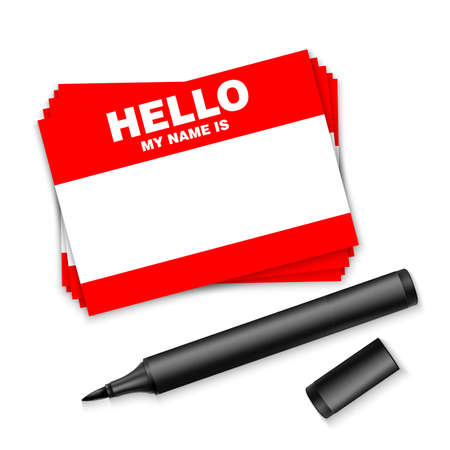 Blank template tag my name is. Red color blank stickers white label with marker isolated on white background.