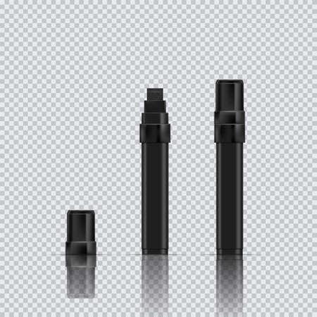 Black marker realistic vector illustration. Broad marker with reflection and shadow on transparent background. EPS 10 Ilustração