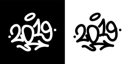 2019 tag in black over white, and white over black. Vector illustration EPS10