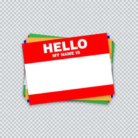 Blank template tag my name is. Different color blank stickers white label isolated on transparent background. Vector illustration. Illustration