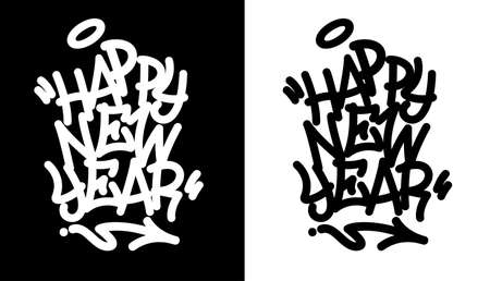 Happy new year tag in black over white, and white over black. Vector illustration. EPS 10 Illustration