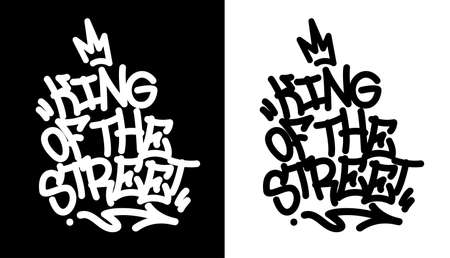 King of the street. Graffiti tag in black over white, and white over black. Vector illustration Eps 10