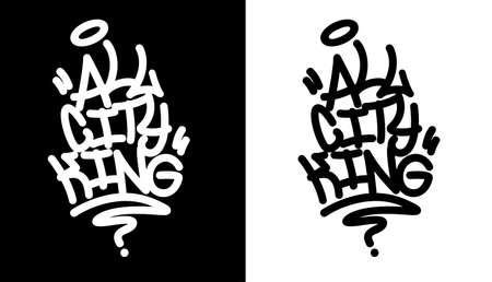 All city king. Graffiti tag in black over white, and white over black. Vector illustration Eps 10