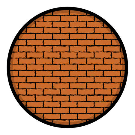Red brick wall in circle. Vector illustration backgroundEPS 10