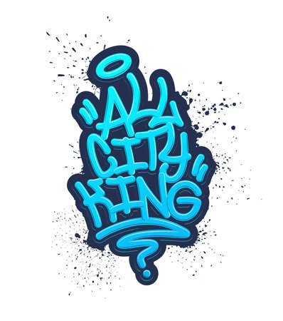 All City King. Tag Graffiti Style Label Lettering. Vector Illustration Eps 10