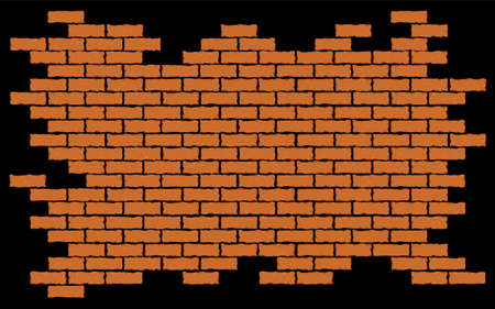 Broken red brick wall. Vector illustration background EPS 10 矢量图像