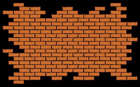 Broken red brick wall. Vector illustration background EPS 10 Illustration