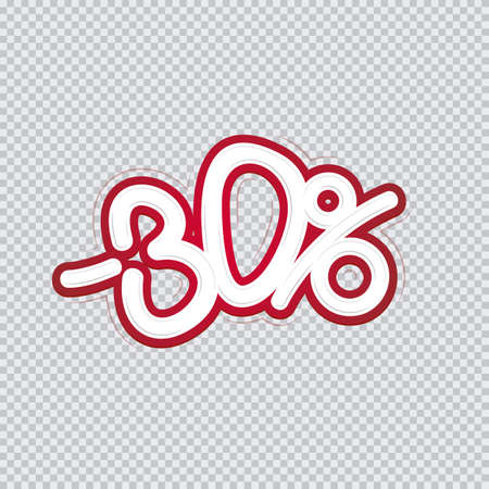 Hand writing 30 percent discount. Sale banner, flyer, isolated inscription.