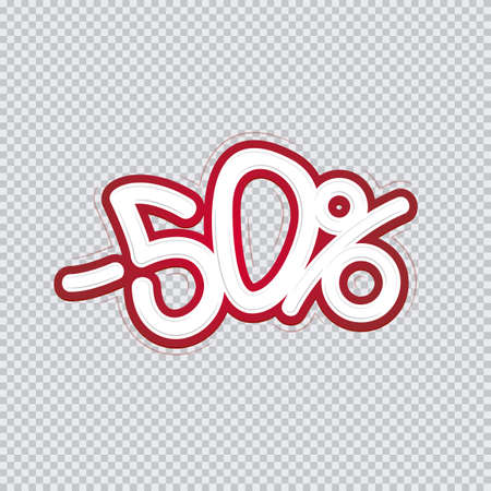 Hand writing 50 percent discount. Sale banner, flyer, isolated inscription. Vector illustration EPS 10