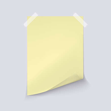 Yellow sheet of paper on light gray background. Vector realistic illustration. A4 sheet with curled corner 向量圖像