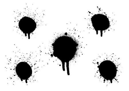 Diverses éclaboussures décoratives de graffiti de peinture en aérosol. Splat de vecteur sur fond blanc Eps 10