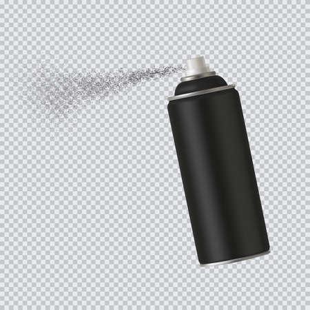 Black spray cans spray paint on transparent background. Vector illustration