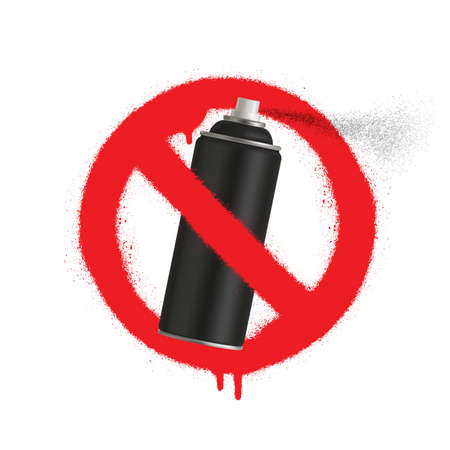 No Graffiti spray can sign icon. Aerosol paint symbol. Red prohibition sign. Stop symbol. Vector illustration