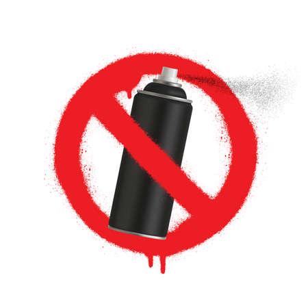 No Graffiti spray can sign icon. Aerosol paint symbol. Red prohibition sign. Stop symbol. Vector illustration