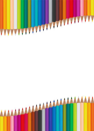 Many color pencils arranged in waves on a white background. Vector illustration EPS 10 Ilustrace