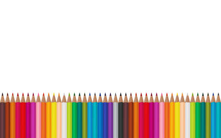 Colored pencils lying in a row on a white background. Vector illustration EPS 10